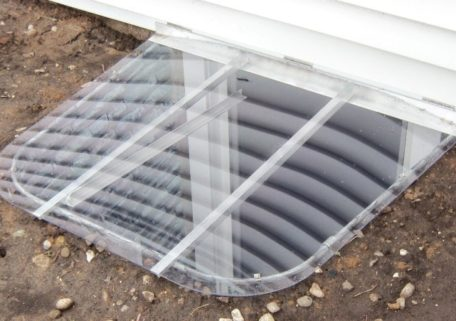 sloped polycarbonate window well cover with uv-resistant polycarbonate and galvanized steel