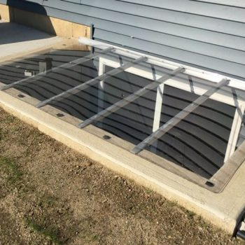 sloped cover with crystal clear polycarbonate