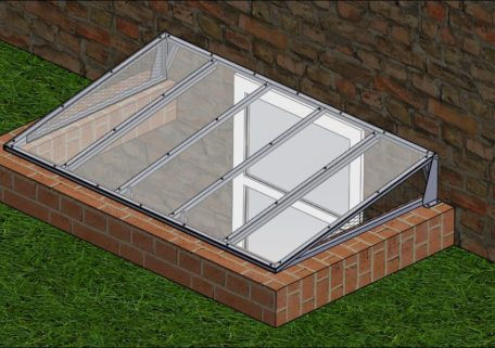 CAD drawing of a super slanted cover on brick well