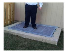 Man standing on safety basement window well grate cover