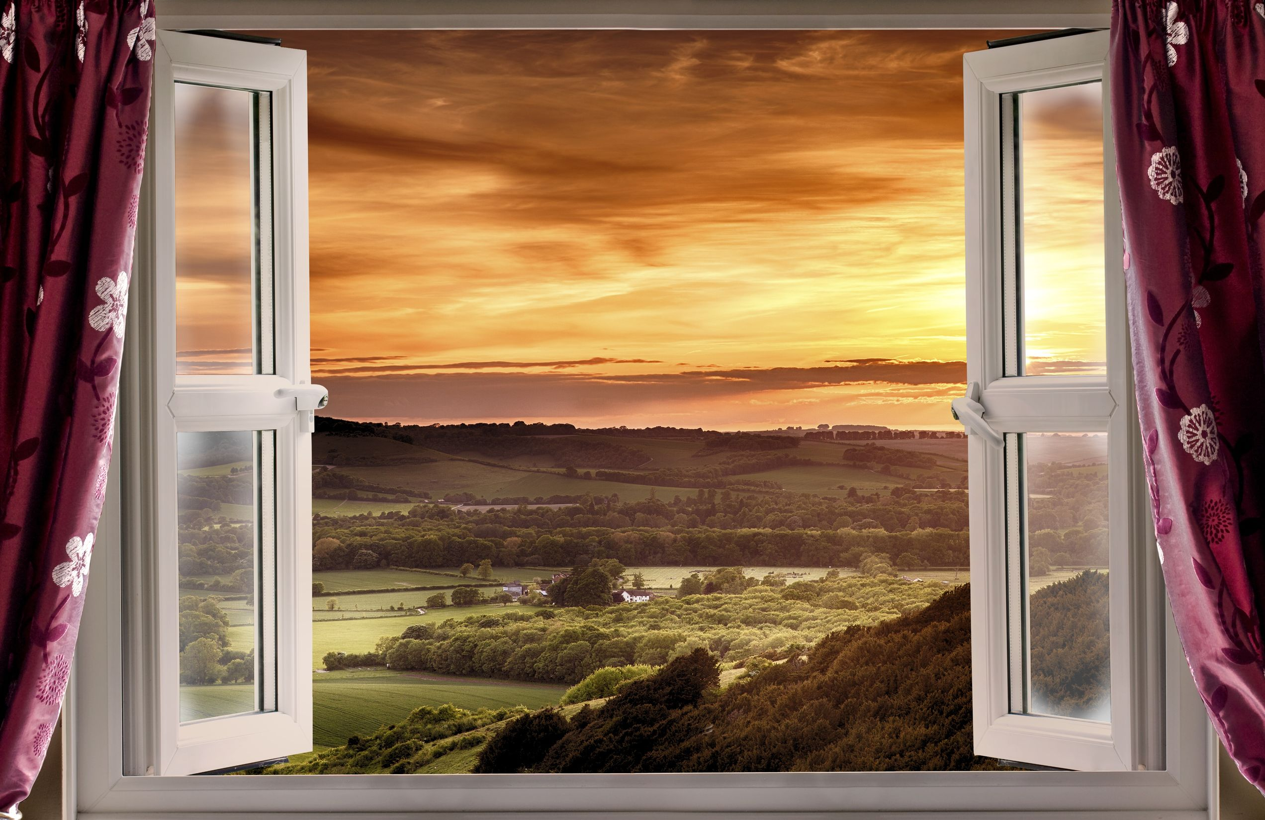 open window with a sunset view