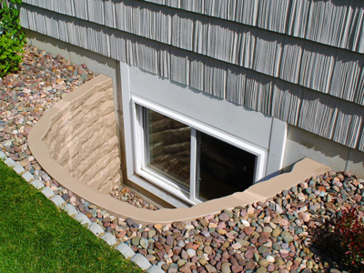 Stone fiberglass egress window well cover